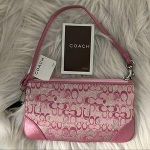 NWT Coach Rare Pink & Silver Zip Wristlet